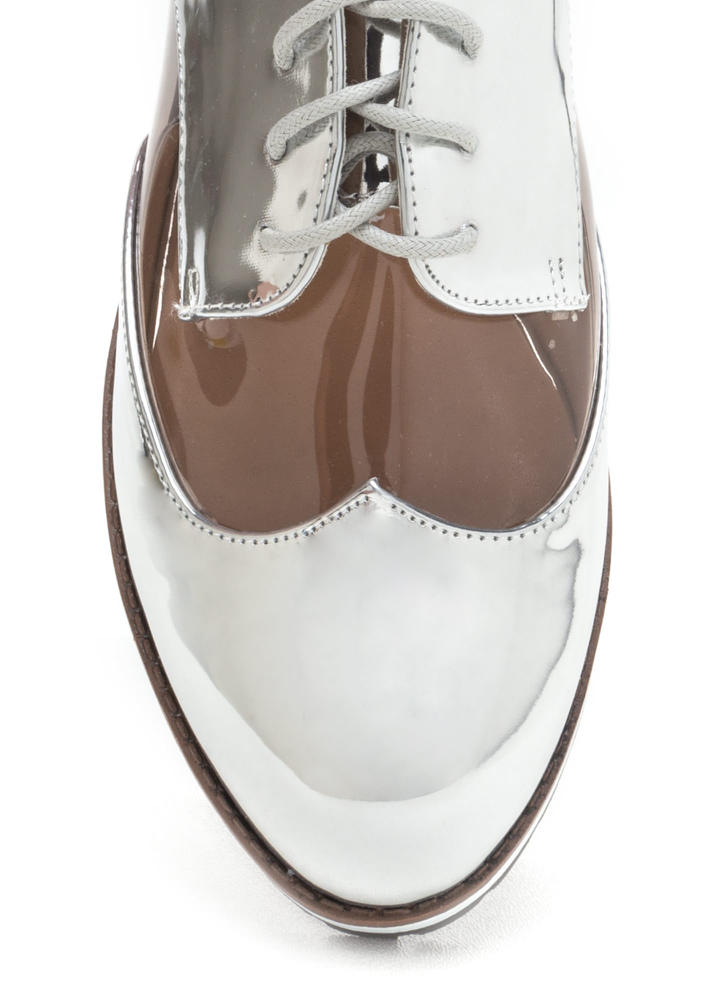 Tomboy Style Clear Metallic Oxford Flats SILVER