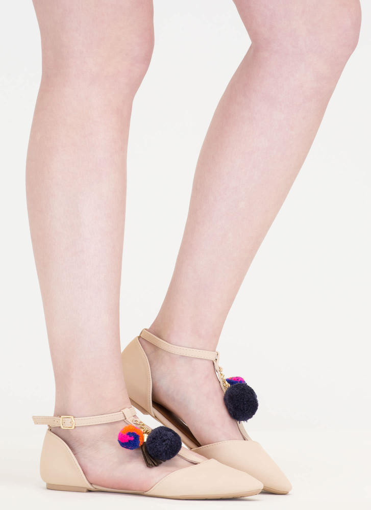 Perfect Pom-Poms Pointy T-Strap Flats NUDE