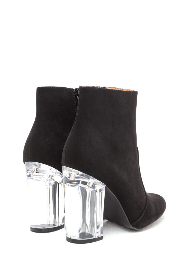 Crystal Clear Chunky Faux Suede Booties BLACK