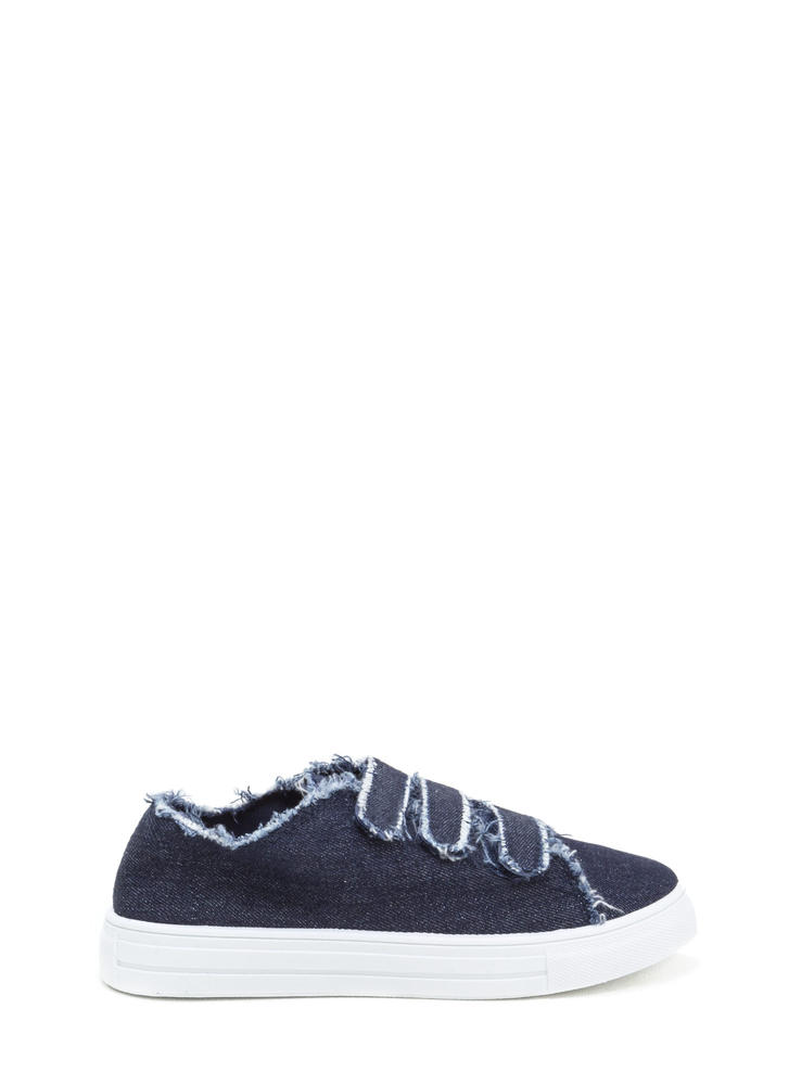 Fray Fair Denim Velcro Sneakers
