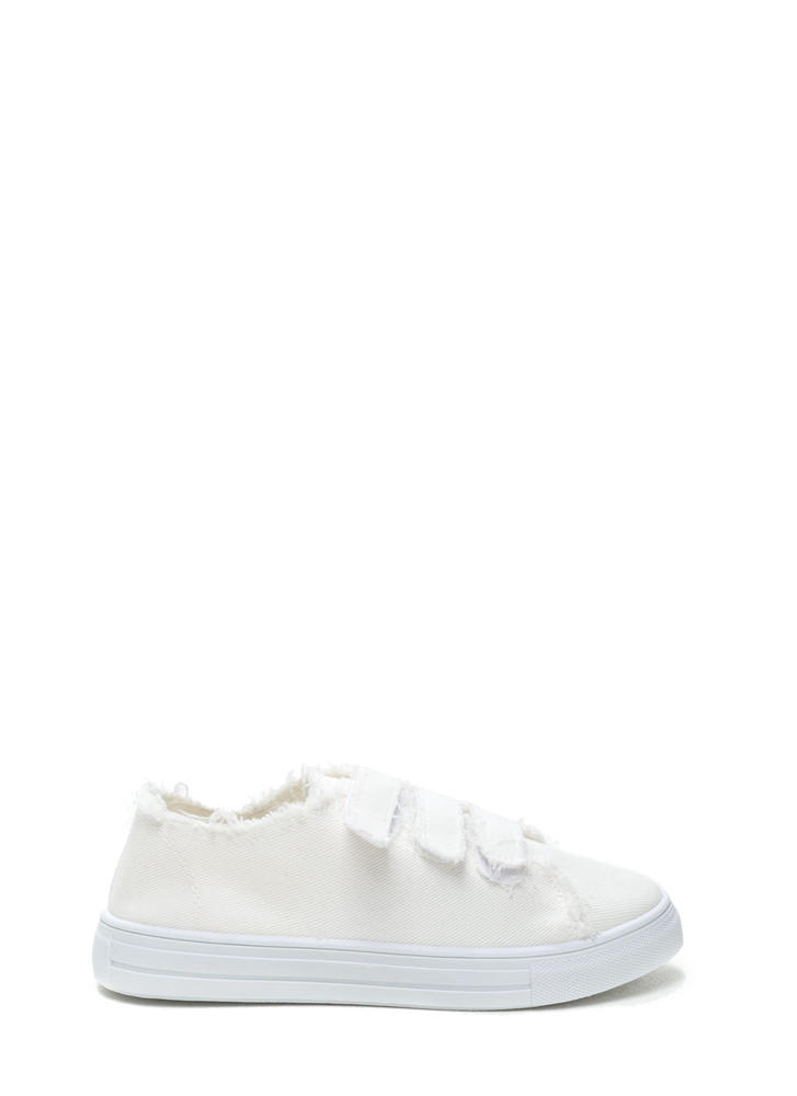 Fray Fair Canvas Velcro Sneakers WHITE