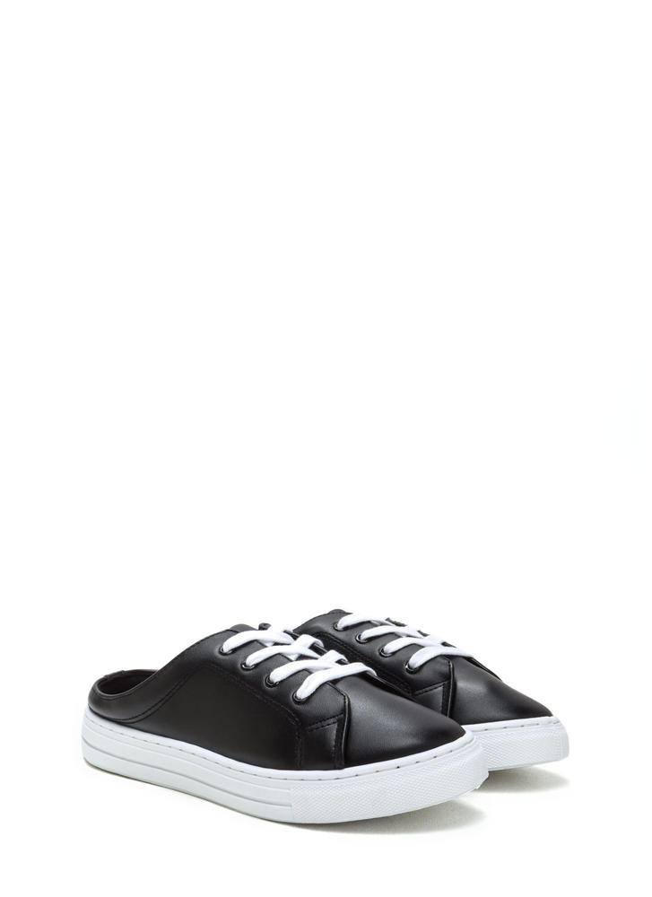 Slide By Lace-Up Faux Leather Sneakers BLACK