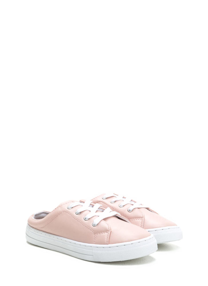 Slide By Lace-Up Faux Leather Sneakers BLUSH