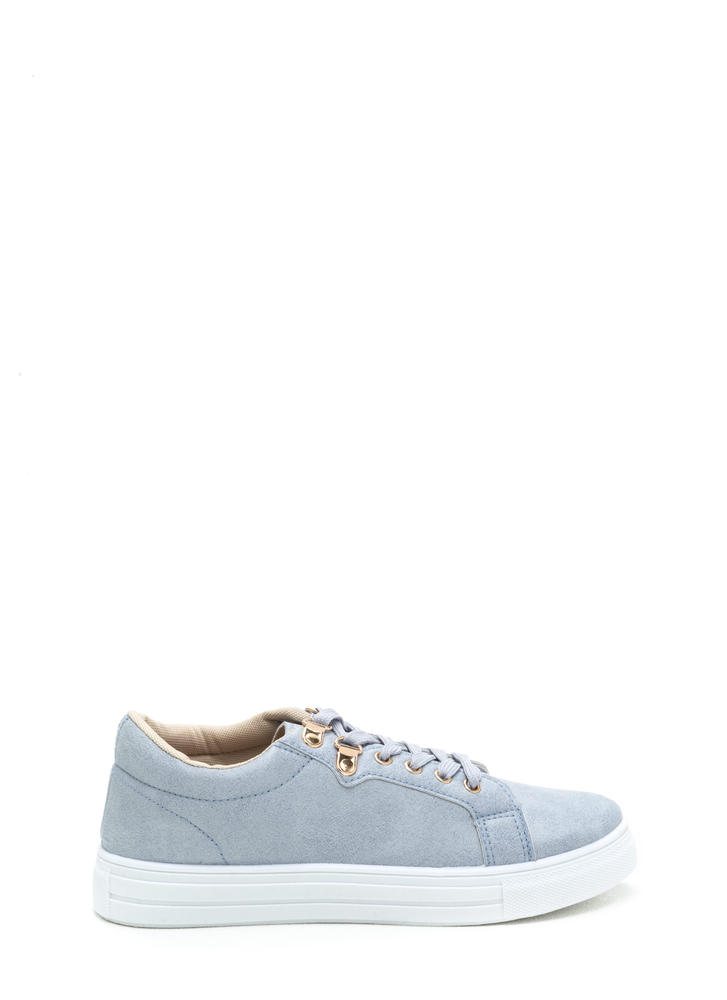 Double Dip Faux Suede Sneakers ASHBLUE