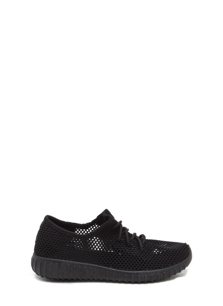 Net Work Cinched Sports Mesh Sneakers BLACK