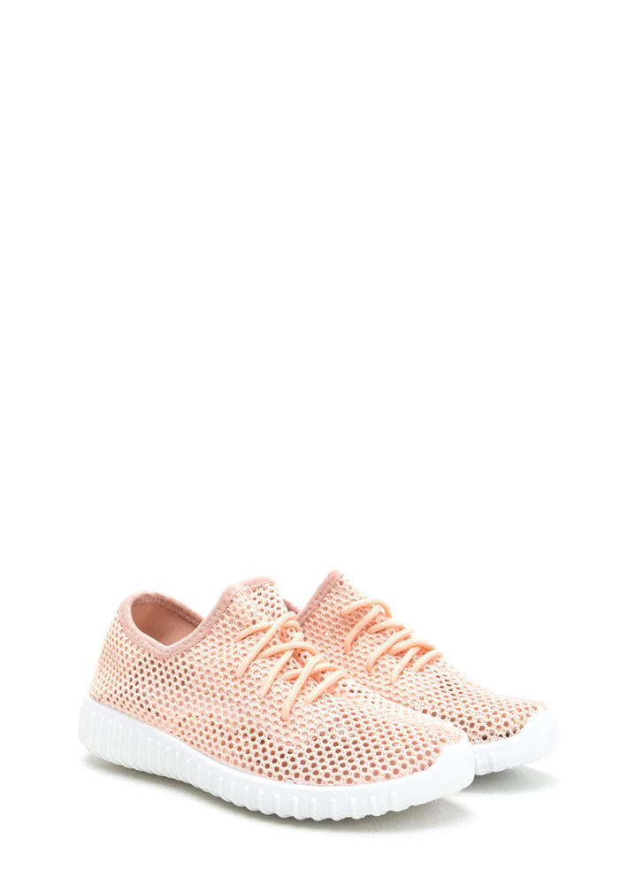 Net Work Cinched Sports Mesh Sneakers PINK