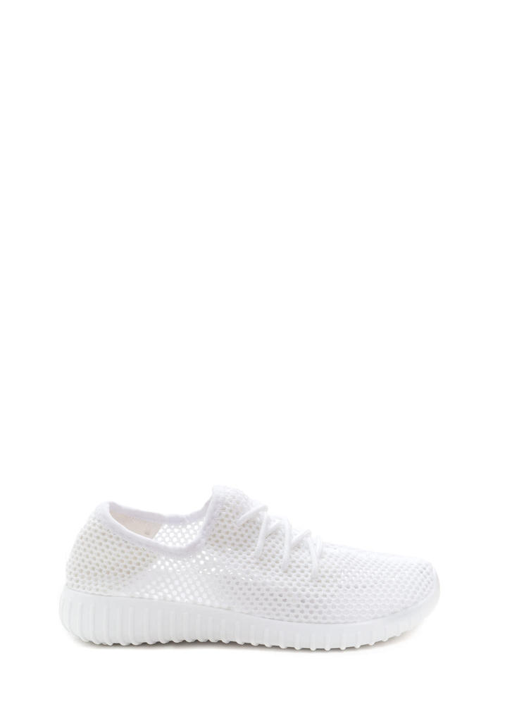 Net Work Cinched Sports Mesh Sneakers WHITE