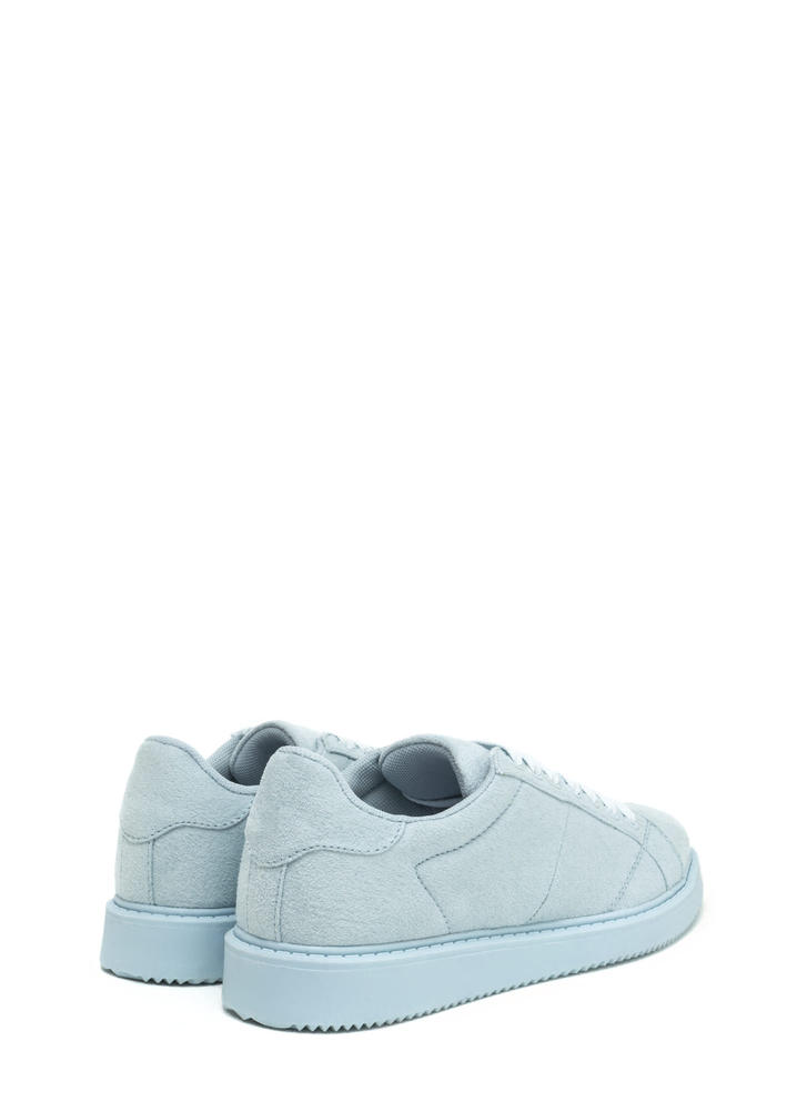 Style Points Faux Suede Sneakers LTBLUE