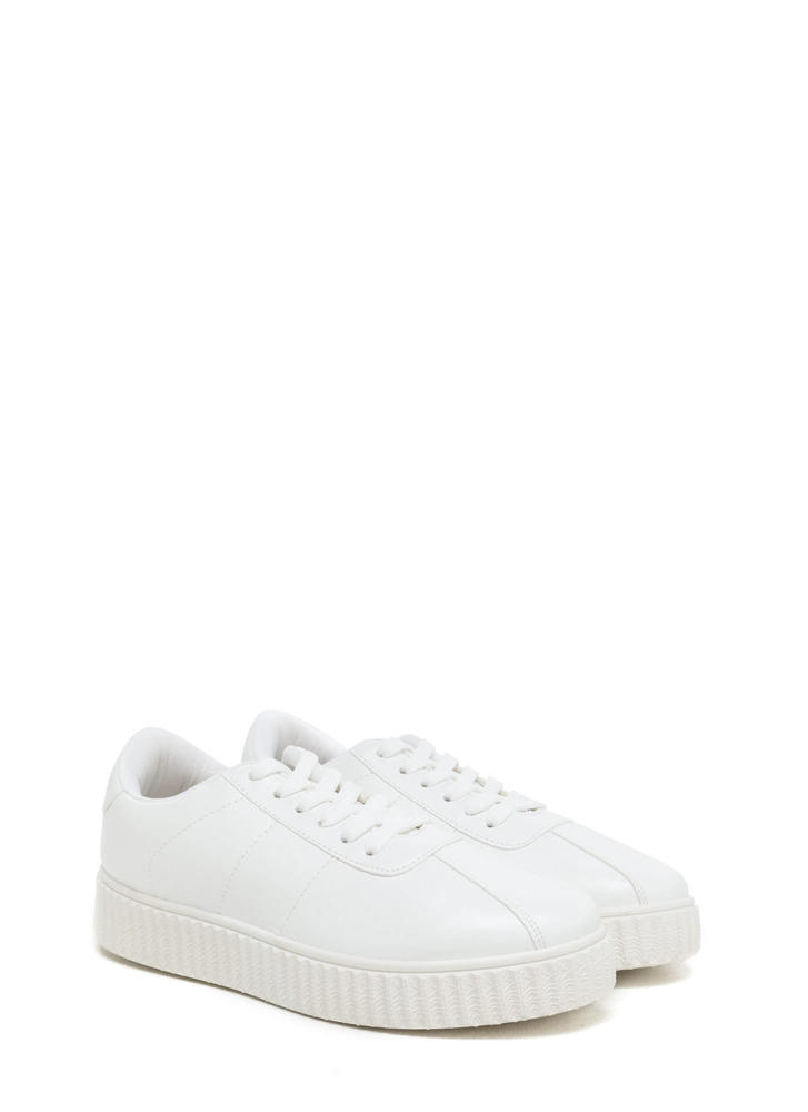 So Slick Faux Leather Creeper Sneakers WHITE