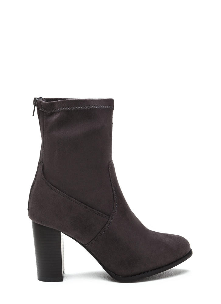 For A Stretch Chunky Faux Suede Booties