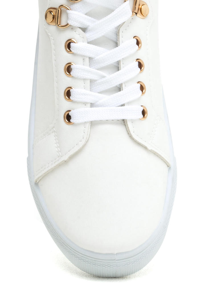 Double Dip Faux Leather Sneakers WHITE