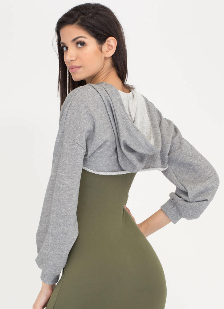 Bust Out High-Low Hoodie Crop Top HGREY