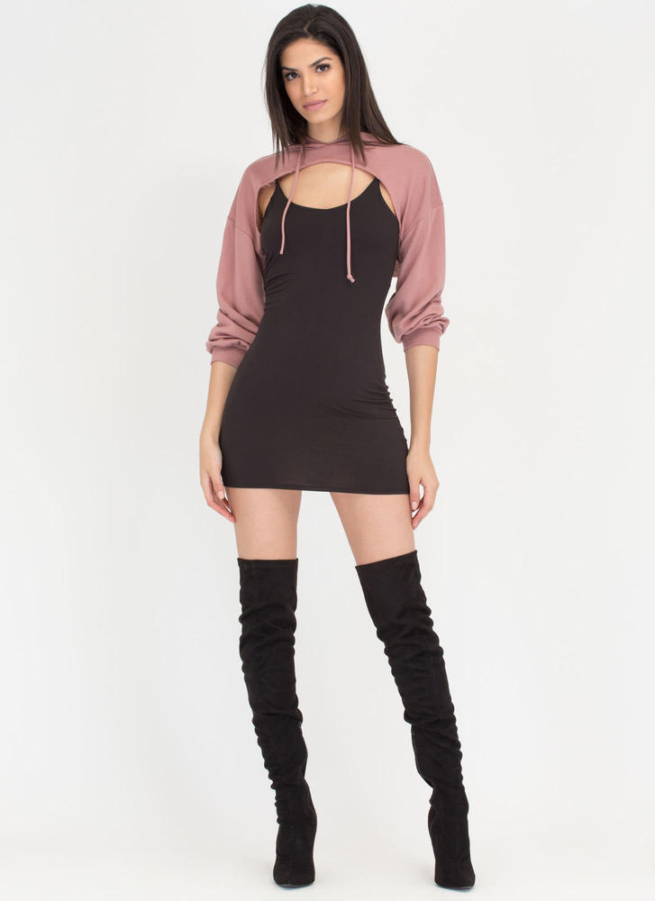 Bust Out High-Low Hoodie Crop Top MAUVE