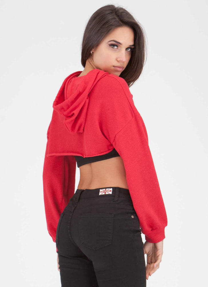 Bust Out High-Low Hoodie Crop Top RED