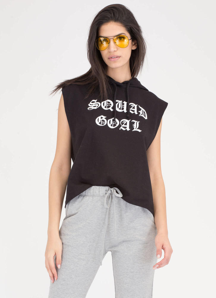 Squad Goal Sleeveless Hooded Sweatshirt