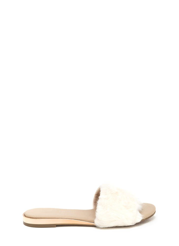 Crazy Fur It Slide Sandals IVORY