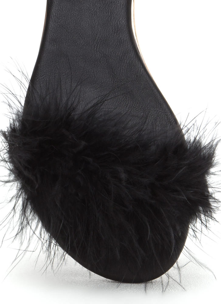 Feathered Friends Faux Suede Sandals BLACK