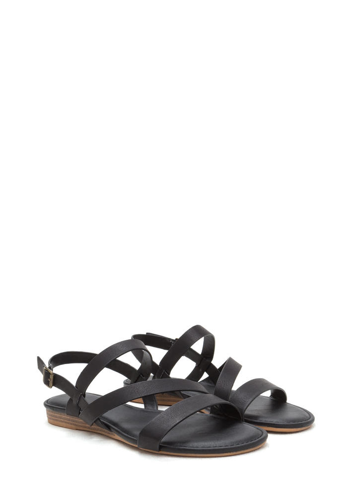 Simply Perfect Faux Leather Sandals BLACK