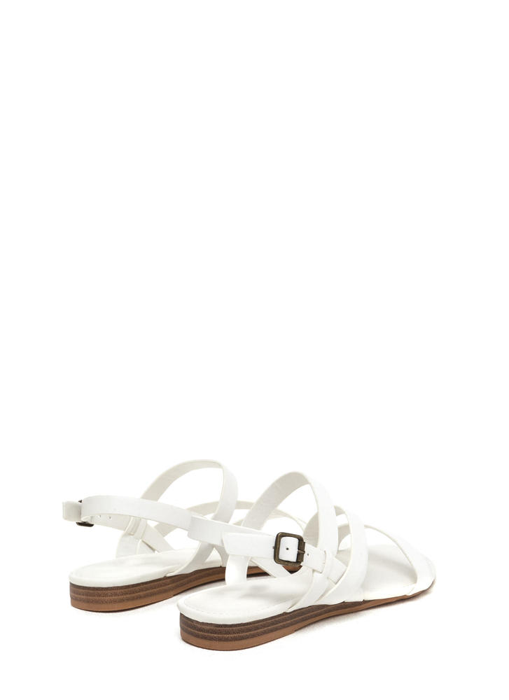 Simply Perfect Faux Leather Sandals WHITE