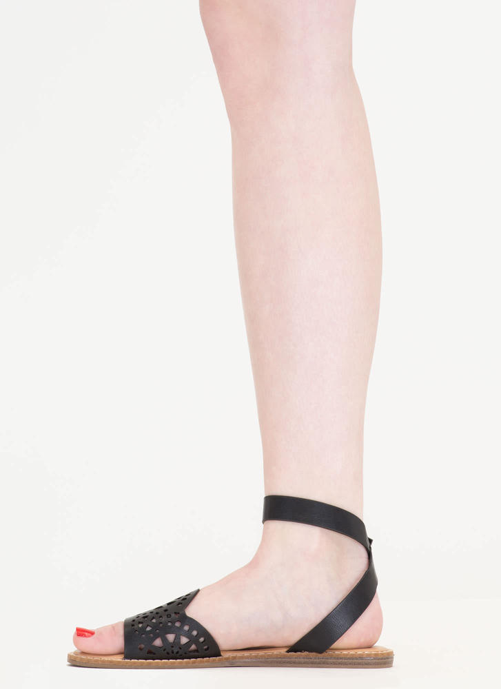 In Motion Cut-Out Strappy Sandals BLACK