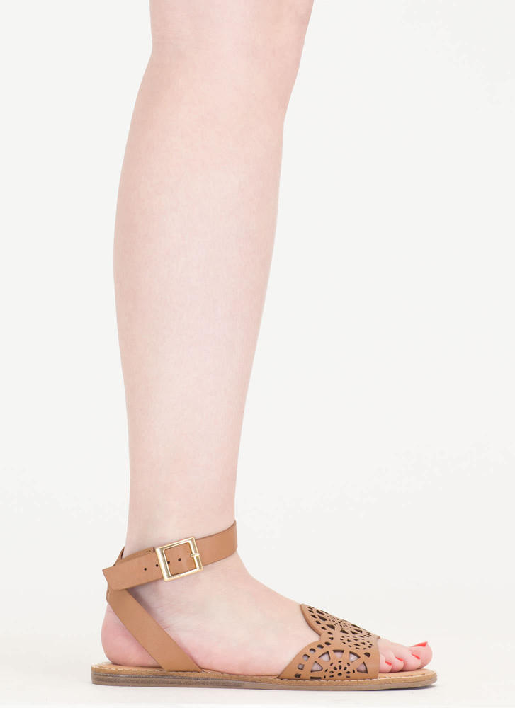 In Motion Cut-Out Strappy Sandals TAN