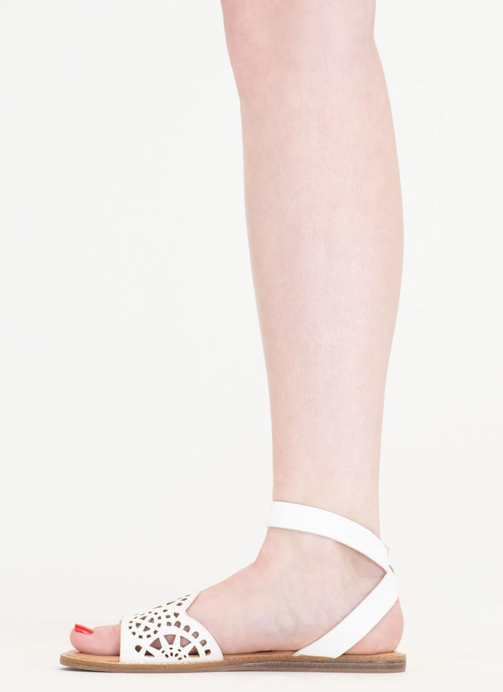 In Motion Cut-Out Strappy Sandals WHITE
