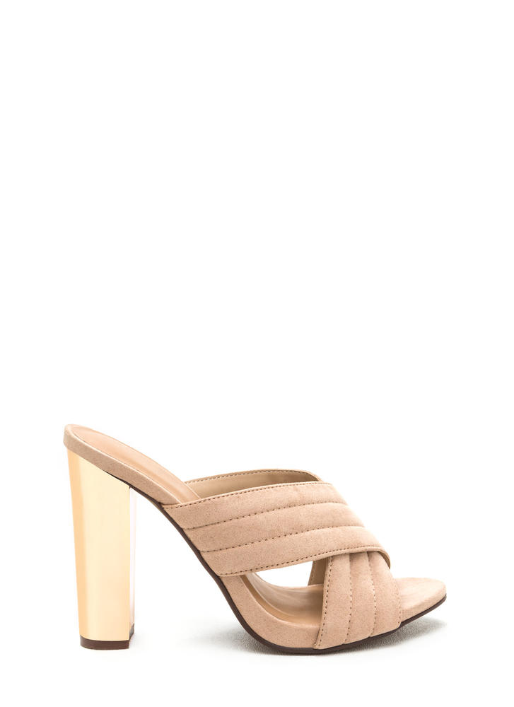 X Education Chunky Quilted Mules NUDE