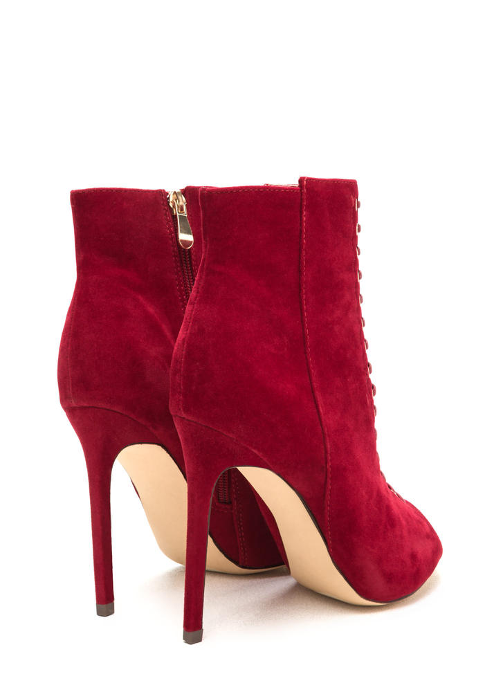 Lace-Up Look Mixed Media Booties RED