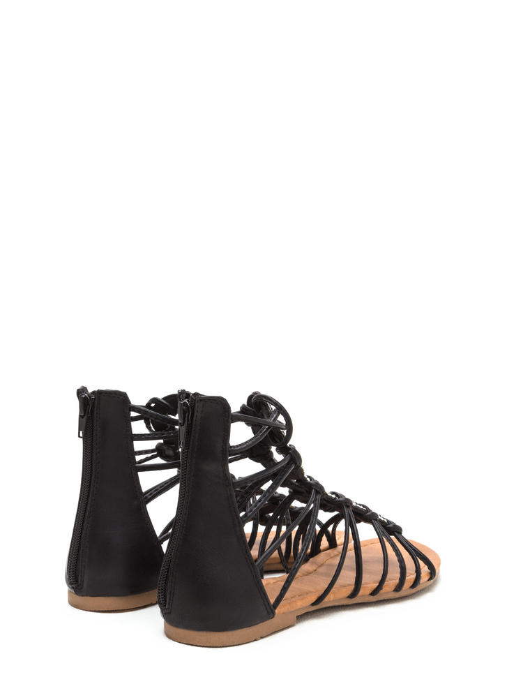 Knot Bad Jeweled Gladiator Sandals BLACK