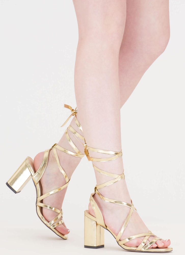 Tie And Mighty Metallic Chunky Heels ROSEGOLD SILVER GOLD - GoJane.com