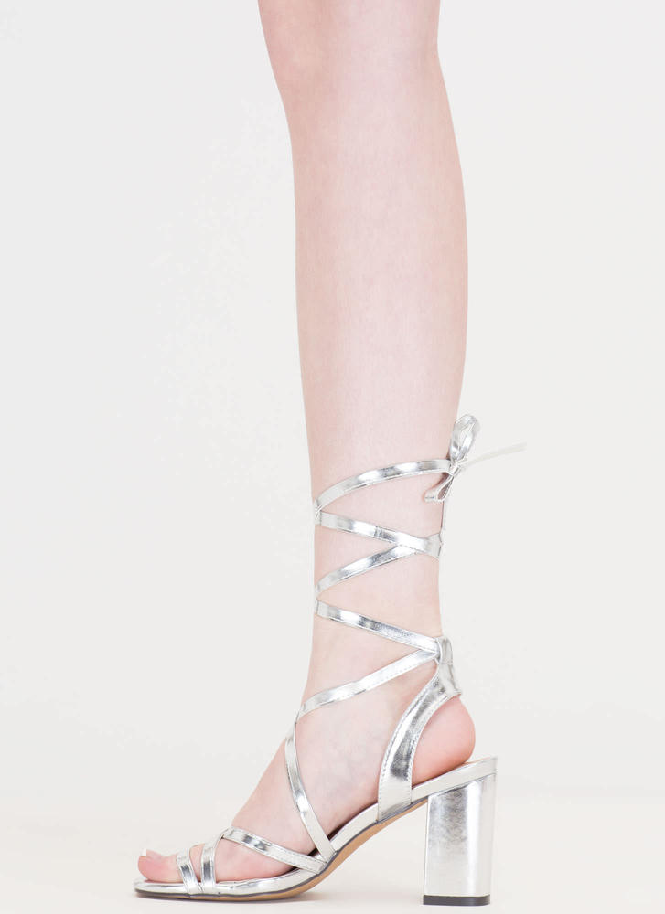 Tie And Mighty Metallic Chunky Heels SILVER