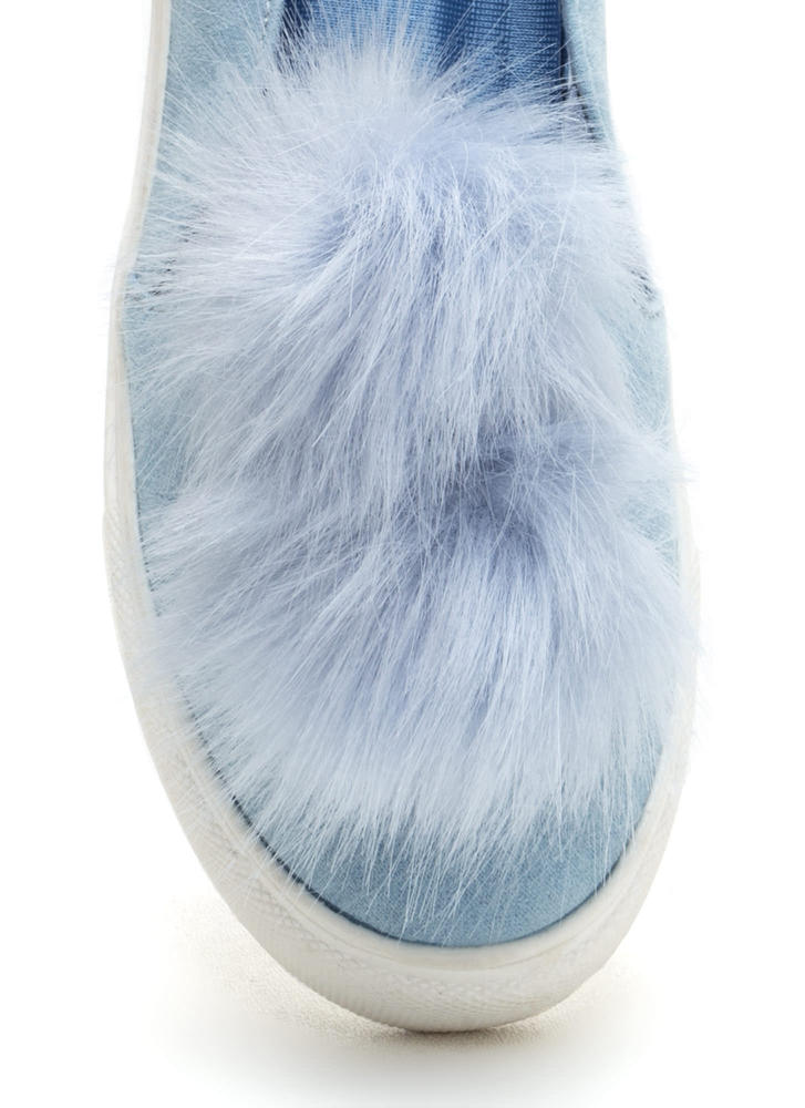 Fur Good Pom-Pom Slip-On Sneakers BABYBLUE