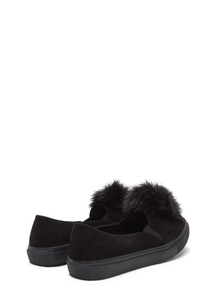 Fur Good Pom-Pom Slip-On Sneakers BLACK