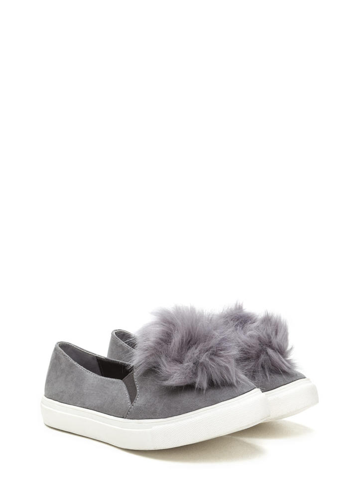 Fur Good Pom-Pom Slip-On Sneakers GREY