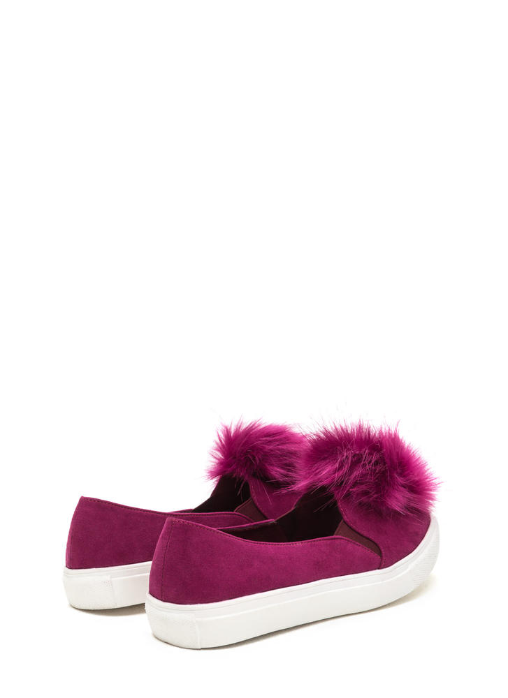 Fur Good Pom-Pom Slip-On Sneakers PURPLE