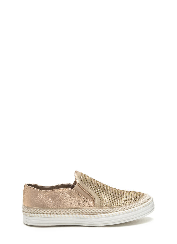 I Sparkle Metallic Slip-On Sneakers GOLD