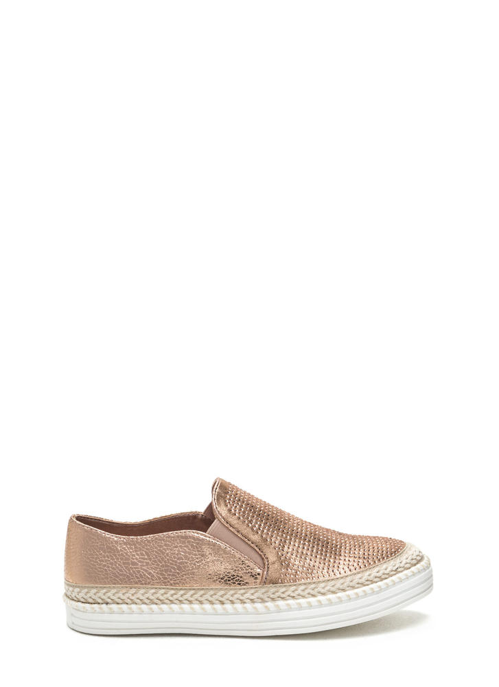 I Sparkle Metallic Slip-On Sneakers ROSEGOLD