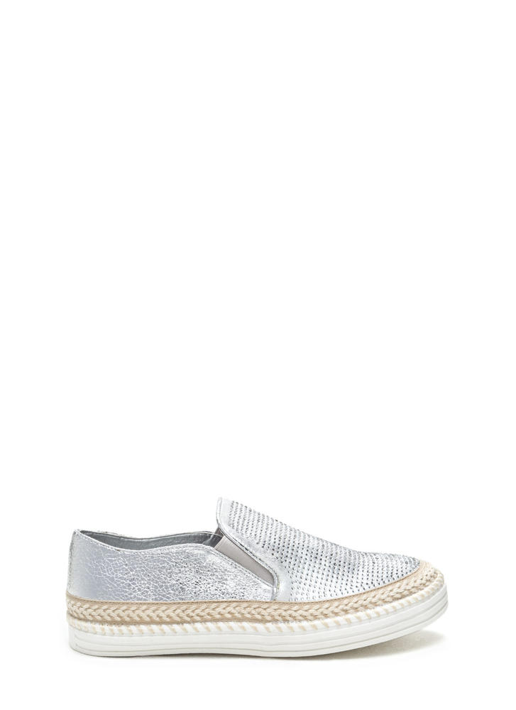 I Sparkle Metallic Slip-On Sneakers SILVER