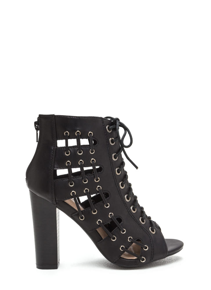 Stitch In Time Chunky Caged Heels BLACK