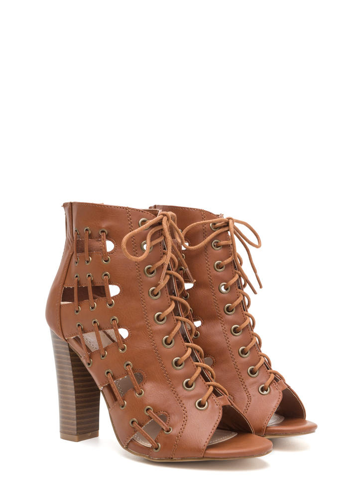 Stitch In Time Chunky Caged Heels COGNAC