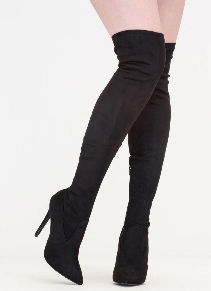 Thigh Zone Pointy Over-The-Knee Boots BLACK