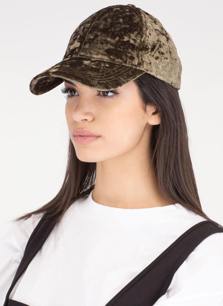 Plush It Crushed Velvet Baseball Hat OLIVE