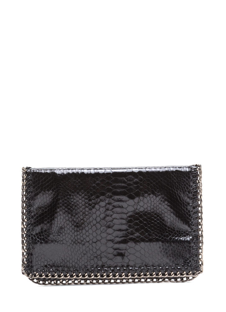 Snake By Chain Foldover Clutch BLACK
