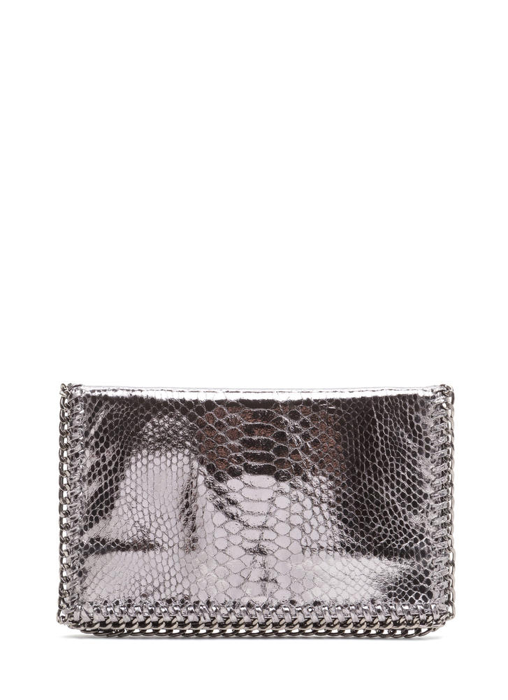 Snake By Chain Foldover Clutch PEWTER