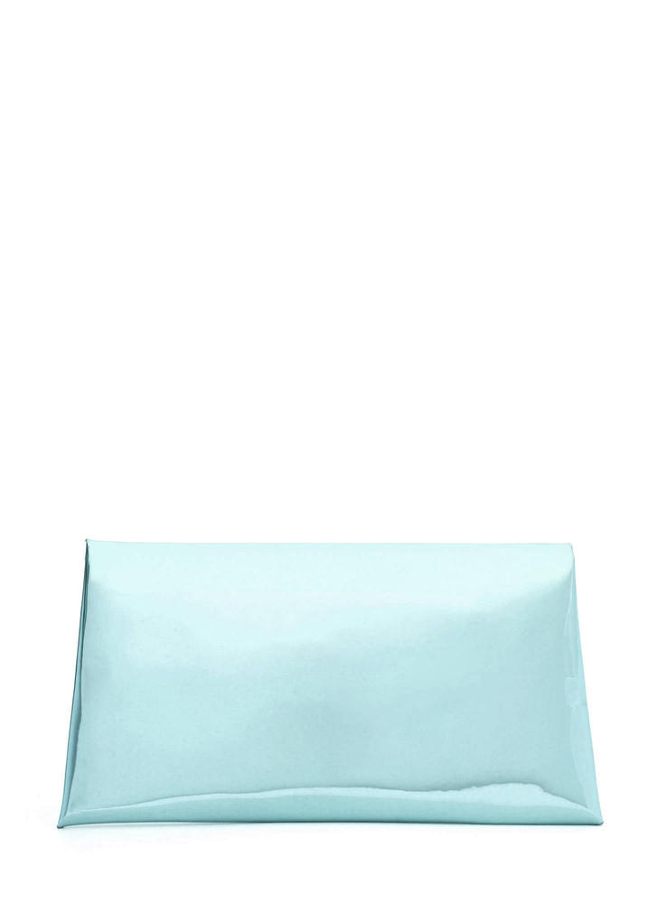 Reflecting Pool Metallic Envelope Clutch BLUE