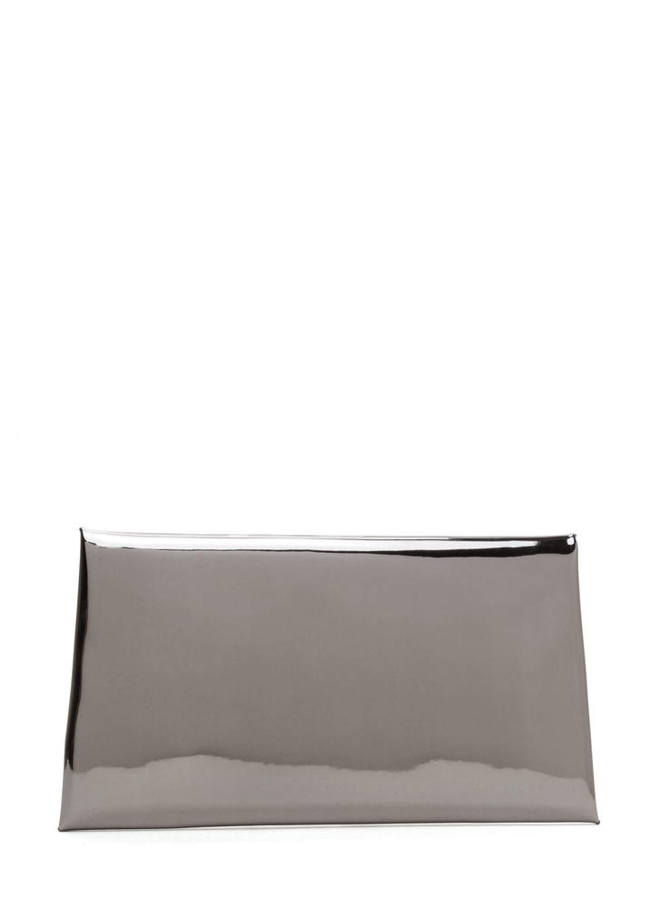 Reflecting Pool Metallic Envelope Clutch GRAPHITE