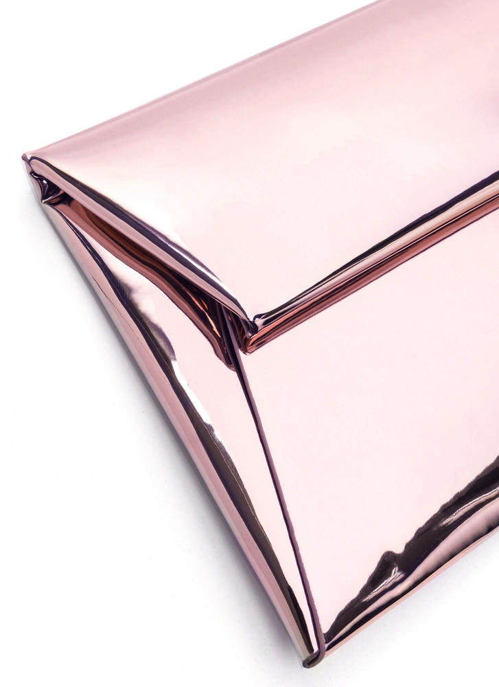 Reflecting Pool Metallic Envelope Clutch PINK
