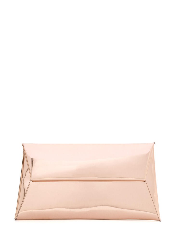 Reflecting Pool Metallic Envelope Clutch ROSEGOLD