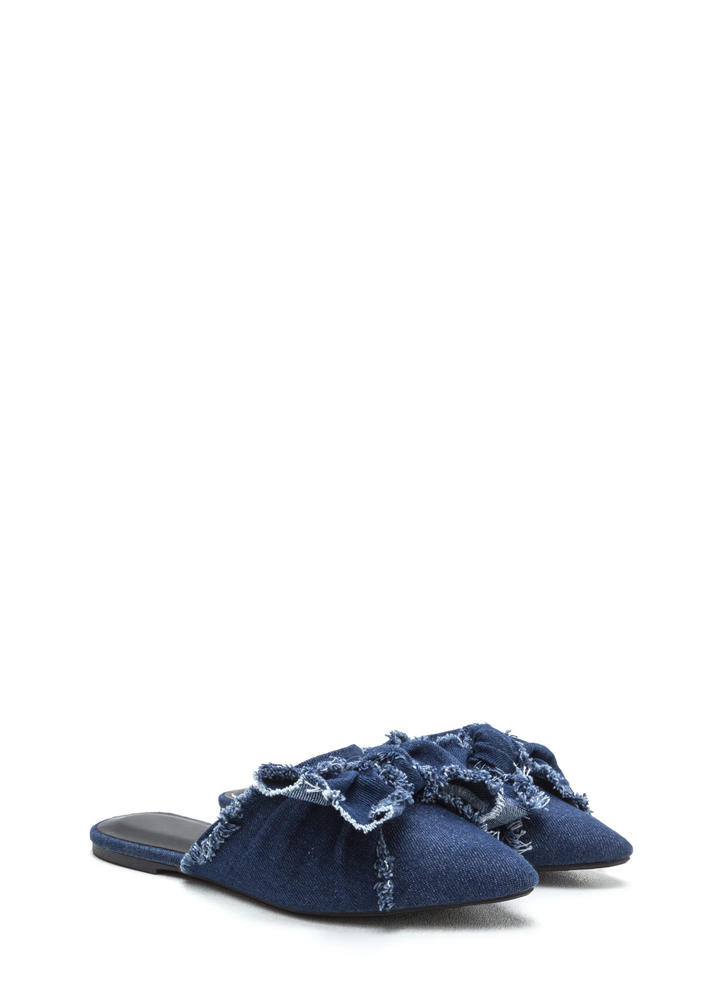 Bow Em Gee Pointy Denim Slipper Flats BLUE