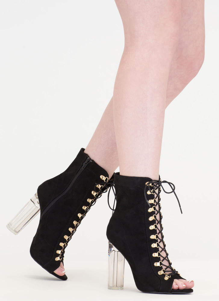 Cylinder Chic Chunky Lucite Booties BLACK
